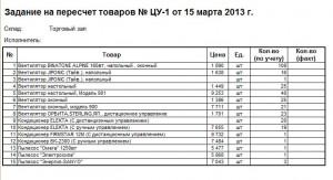 Бланк на пересчёт товаров ( скриншот с демо-базы )
